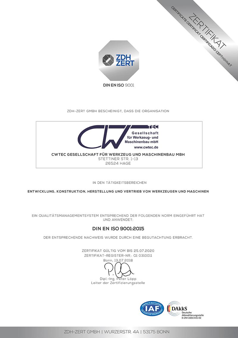 DIN EN ISO 9001 Zertifikat cwTec GmbH